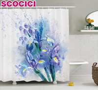 Watercolor Flower Decor Shower Curtain Set Floral Background With Pretty Irises in Fresh Colors Nature Earth Spirit Bathroom Acc