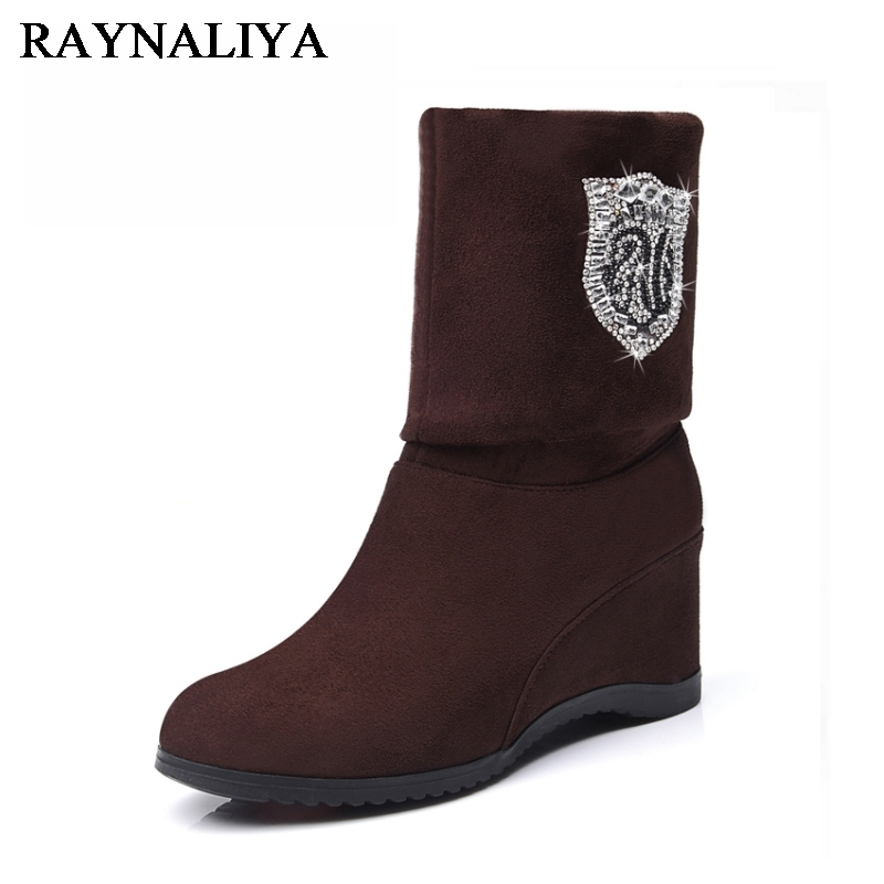 2017 New Women Kid Suede Mid Calf Boots Autumn Sexy Dress Shoes Woman Wedge Heels Quality Formal Female Crystal Boots YG-B0001
