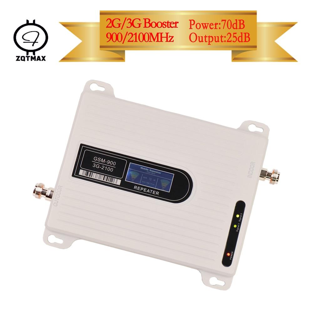 ZQTMAX 2G 3G Cellular Signal Booster GSM UMTS Cellular Amplifier 900 2100 Dual Band 3g Network