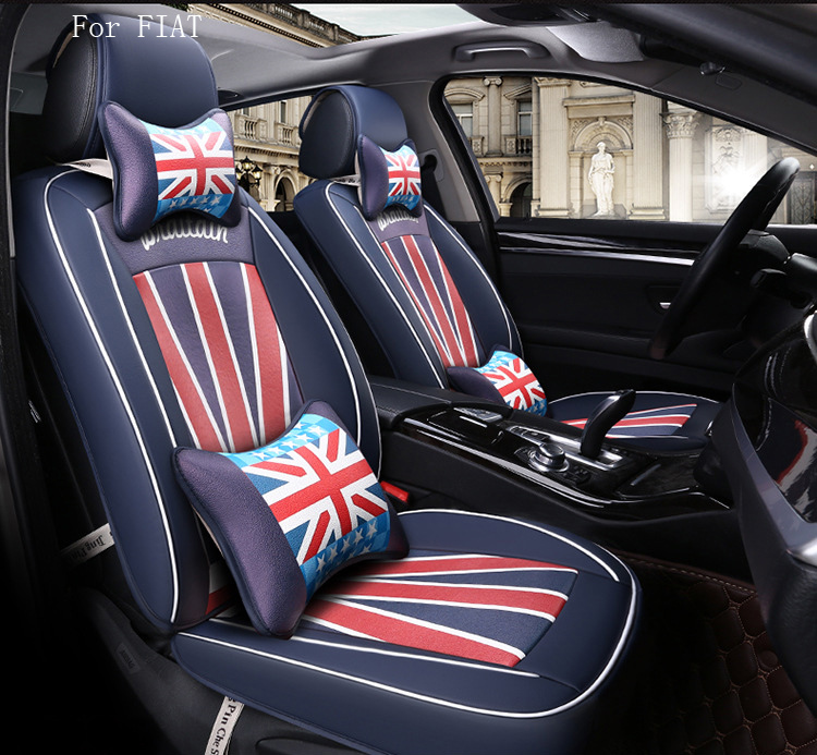 brand design flag pattern pu leather car seat cover for  fiat 500 fiat punto front rear full universal car for fiat panda ottimo c medium palio punto new brand luxury soft pu leather car seat cover front