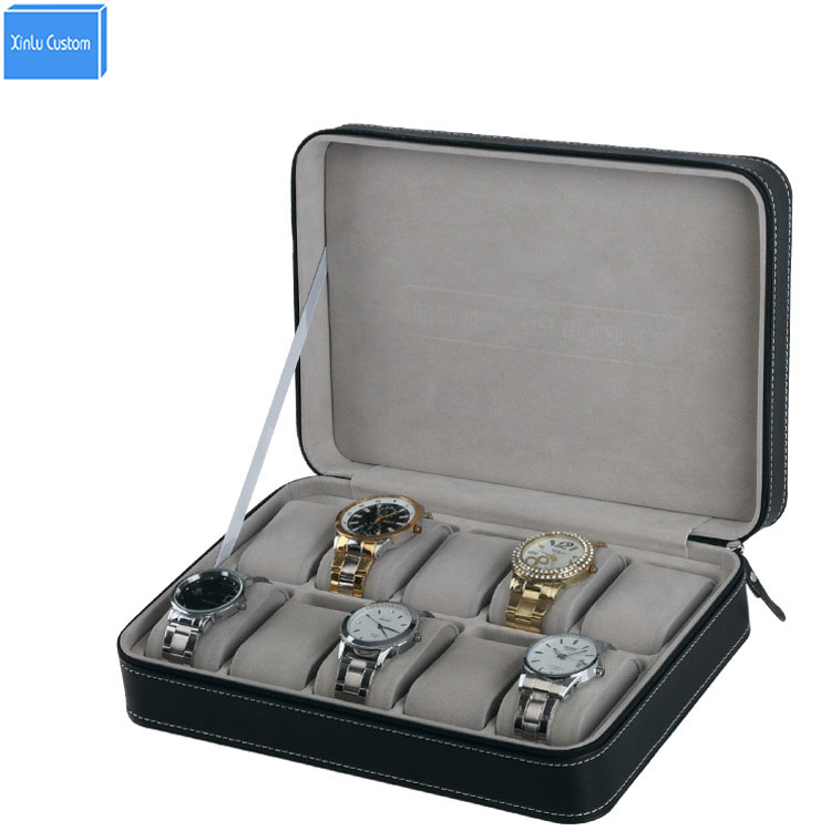 Special for Travel Portable Sport Protect 10 Grids Leather Zippered Wristwatch Box Case Black Pu Velvet Zipper Storage Bag Box travel aluminum blue dji mavic pro storage bag case box suitcase for drone battery remote controller accessories