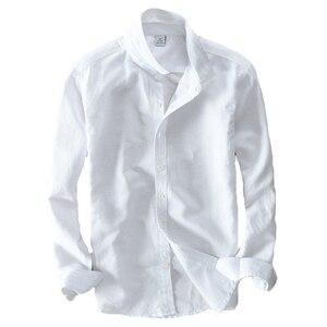 Image 5 - الربيع والخريف الرجال الموضة العلامة التجارية اليابان نمط سليم صالح القطن الكتان قميص طويل الأكمام الذكور قميص أبيض عادي استيراد الملابس