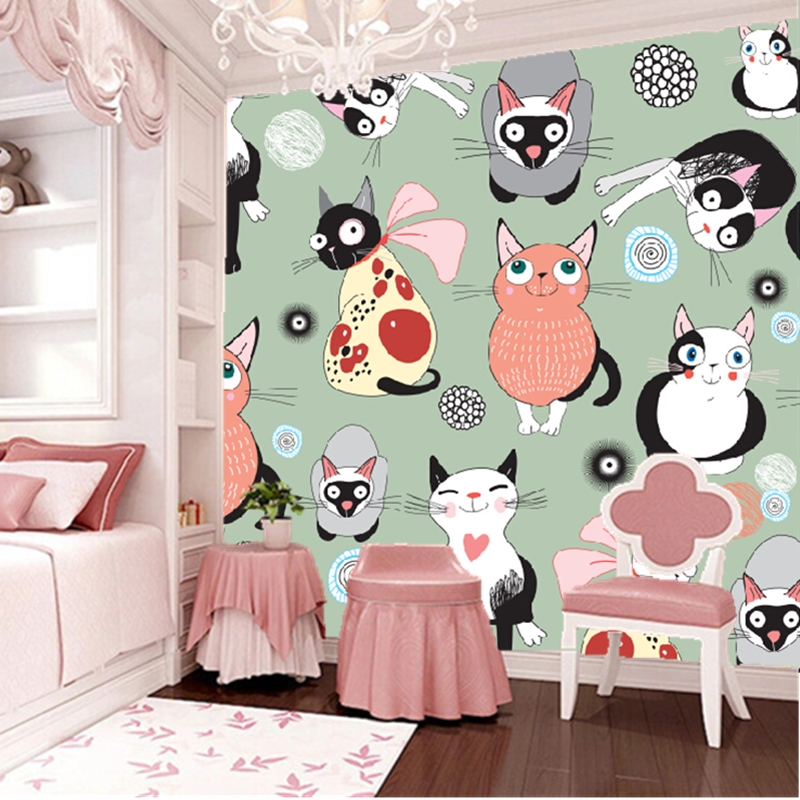 Living Room Background Animated: Custom Animation Wallpaper, Cute Cartoon Cat Murals For