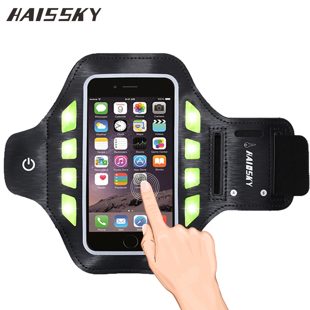 5.0 &#8221; <font><b>LED</b></font> Lighting Sport Running Touch Screen Arm band <font><b>Case</b></font> Covers For <font><b>iphone</b></font> 7 6 6s 5 5s SE Samsung galaxy S3 S4 S5 S6 Edge Bag