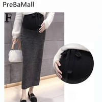 2018 Fashion Korean Maternity Belly Care Skirts Knitted Side forking pencil Skirts for Pregnant Women Pregnancy Dress B0571