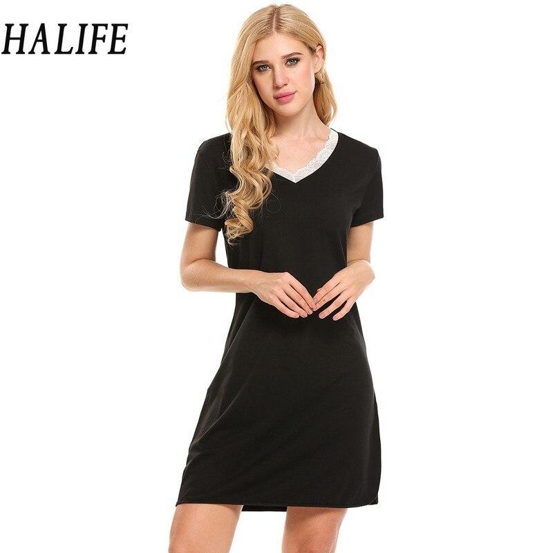 HALIFE Nighties For Women Night Gown Lace V Neck Short Sleeve Side Split Sleepwear Nightgown Nightwear Cotton Dress Nuisette 610