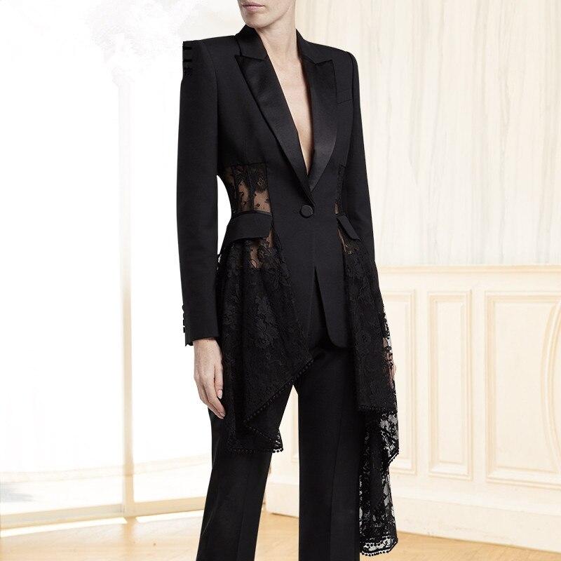Automne Mujer Bureau Dentelle Costumes 2018 Dames Élégant Entaillé Blazer Femmes Patchwork Irrégulière Slim Sexy ZBZTw