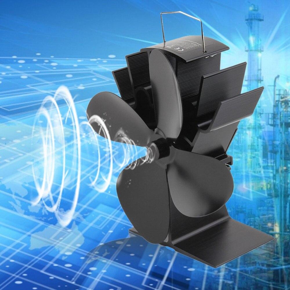 все цены на 100% brand new Durable 4 Blades Aluminum Black Heat Powered Stove Fan Fuel Saving Stove Fan Eco-friendly Wood Burner Stove Fan