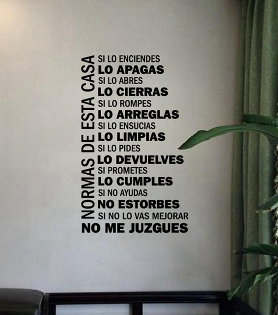 Spanish Version House Rules Vinyl Wall Decals Family Quotes Wall Art