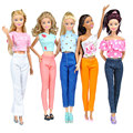 E-ting 5 conjuntos feitos à mão blusa roupa vestir roupas calças casuais para barbie doll spr
