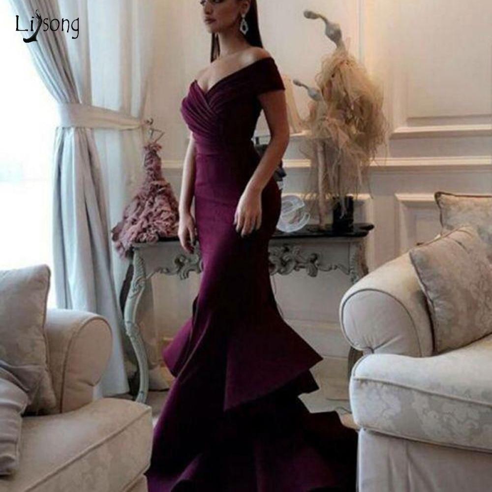 Elegant Burgundy Long Mermaid Prom Dresses 2019 Little Split Ruffles Evening Gowns V neck Off The
