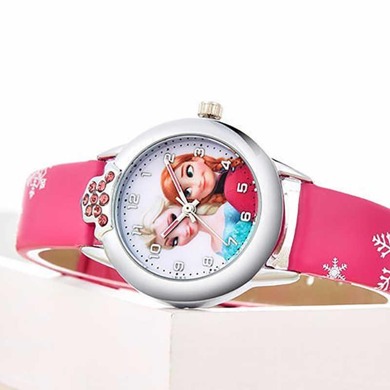 Мультфильм фильм Замороженные Девушки Эльза Принцесса Анн Мультяшные кварцевые часы кристалл алмаз циферблат рождественские подарки для девочек детей