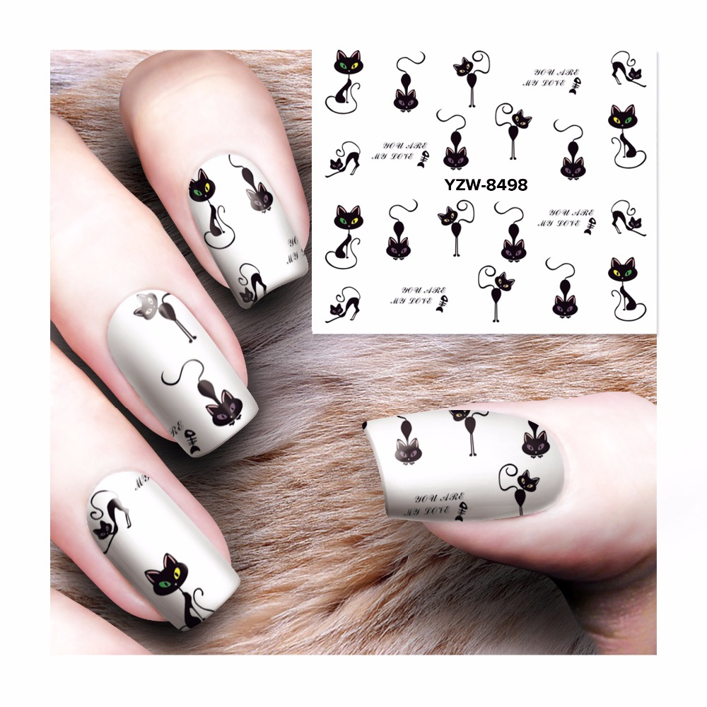 Nail Art Stickers: FWC Cat Water Nail Decals Nail Art Stickers Tips Decal The