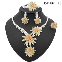 Yulaili 2019 Bridal Gift Nigerian Wedding African Flower Jewelry Brand Woman Fashion Dubai Gold Set Wholesale Design