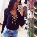 2016 New Sexy Long Sleeve women rompers Casual fashion Slim jumpsuit
