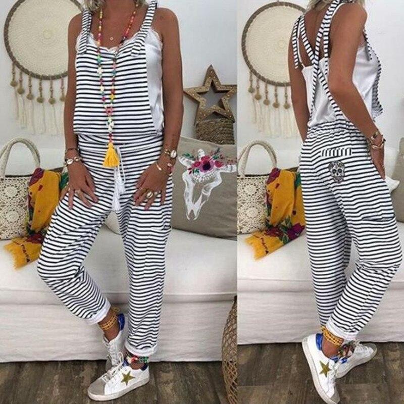 Women Flower Print  Loose Jumpsuits Rompers V-neck Herem Pants Sport Slacks Suspenders Hip Pop Sport Slacks
