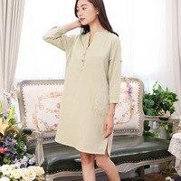 Summer Cotton Home Skirt Womens Nightgown Sleepwear Long Sleeve Sleeping Dress Solid Women Nightwear V Neck Chest Pad Sleepwear