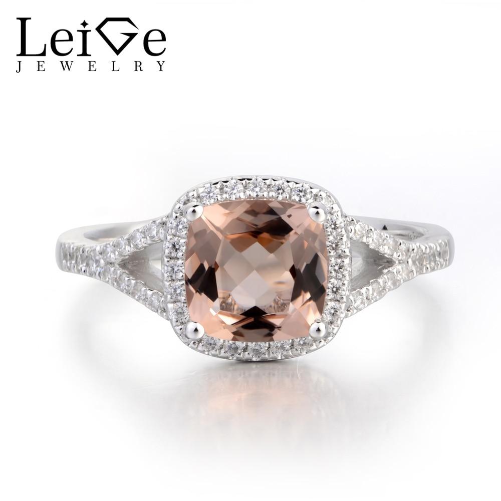 Украшения leige Настоящее натуральное розовое морганитное кольцо обручальное кольцо из стерлингового серебра 925 пробы кольцо с подушкой розо