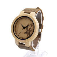 Top Brand Men S Bamboo Wooden Bamboo Watch Quartz Real Leather Strap Men Watches