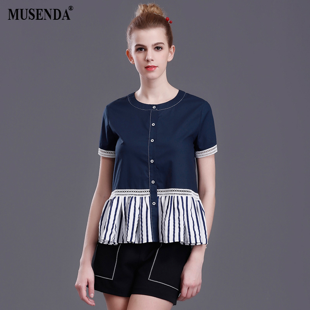 5daac7a5536 MUSENDA Women Royal Blue Striped Patchwork Buttons Blouse Short Sleeve Shirts  2017 Summer Lady Fashion Casual Office Street Top