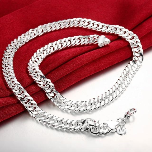 d9844f0ac6e0 Moda joyas de plata 925 Plata 20 pulgadas largo Collares de cadena joyería para  hombres ancho