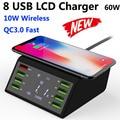 Универсальное беспроводное зарядное устройство для Iphone X 8 Plus  8 портов  ЖК-дисплей  USB  Qi  60 Вт  быстрая зарядка 3 0 для Samsung S10  S9  Xiaomi mi 9