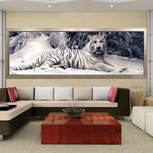 เย็บปักถักร้อยเพชร 5D Diy ภาพวาดเพชร Cross Stitch White Tiger รอบเพชรโมเสคสัตว์ภาพวาดงานอดิเรกงานฝีมือ