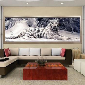 Bordado de diamantes 5D Diy pintura de diamantes punto de cruz tigre blanco redondo mosaico de diamantes de animales pinturas para el hogar aficiones de artesanías