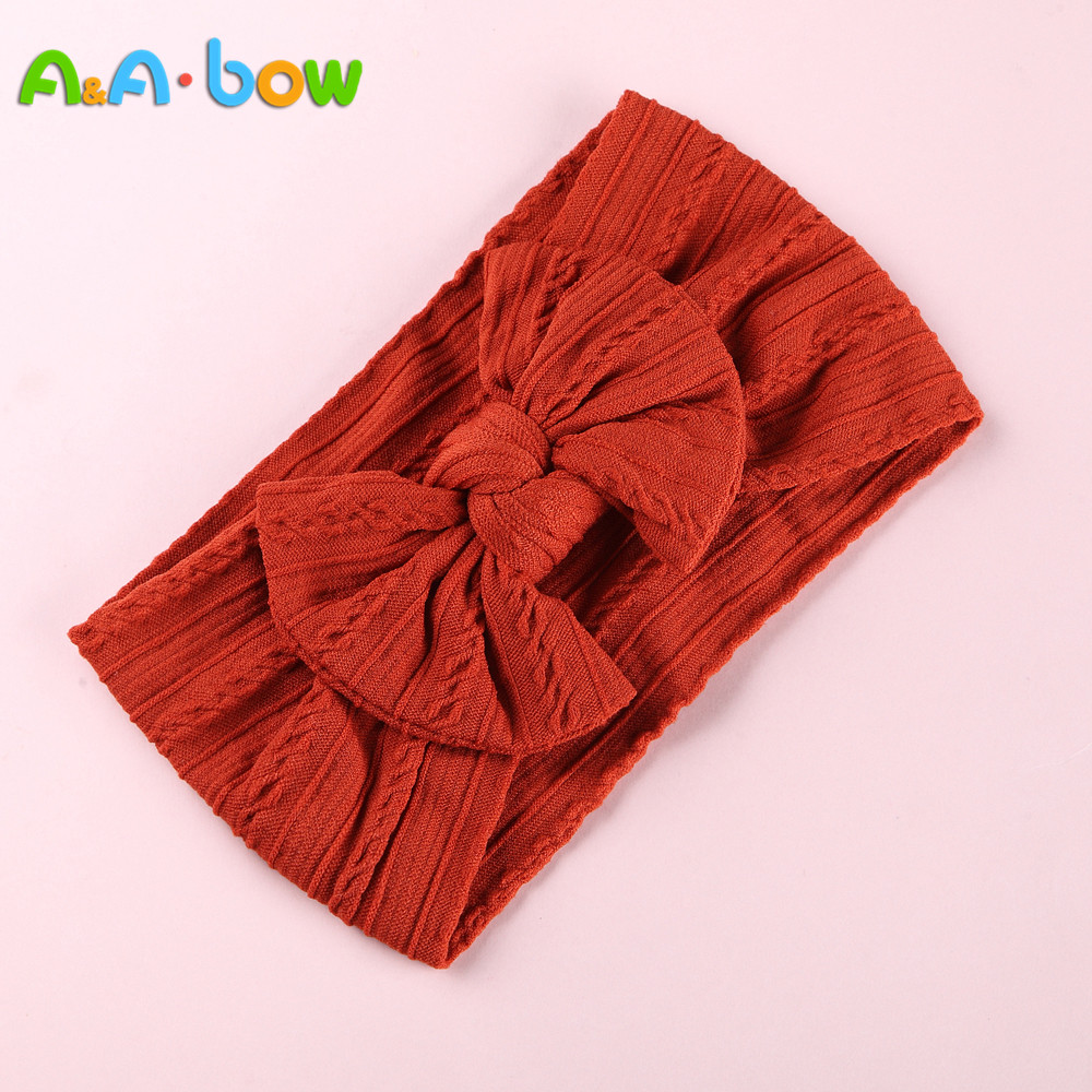 1pcs Cable Knit Nylon Bow Headwrap, One Size Fits All Nylon Headbands, Wide Nylon Headbands, Baby Headbands, Knot Bow Headwear