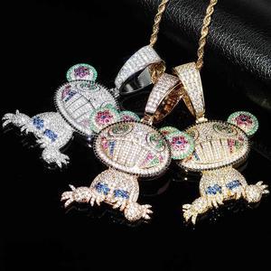 Image 4 - JINAO collier ours Animal pour bébé, pendentif avec chaîne de Tennis, en Zircon cubique glacé, brillant, style Hip Hop pour hommes, idée cadeau