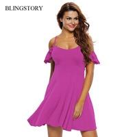 BLINGSTORY Europe Fashion Women S Sexy V Neck Short Sleeve Ruffle Swing Dress Online Clothing Shop