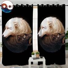 Yin and Yang Wolves Black by JoJoesArt Bedroom Curtain Tai C