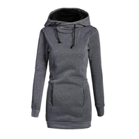Women Sweatshirts Dress With Pockets Spring Autumn Casual Cotton Long Sleeve Solid Bodycon Pencil Hoodie Slim