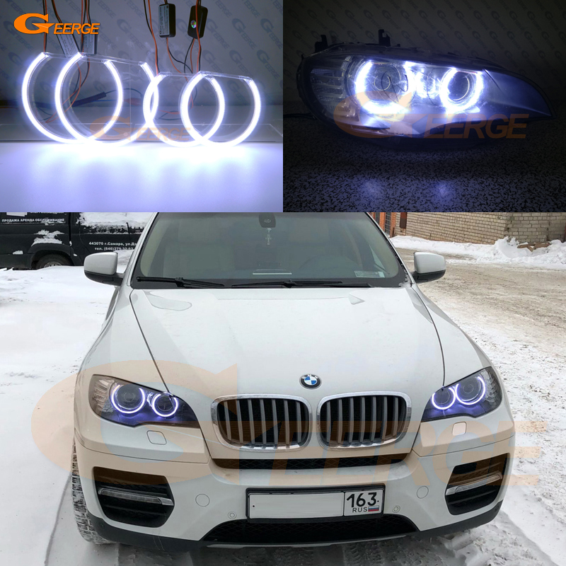 For BMW X6 E71 E72 X6M E70 X5M 2008-2014 Xenon headlight Excellent Ultra bright illumination COB led angel eyes kit carbon fiber car rear bumper extension lip spoiler diffuser for bmw x6 e71 e72 2008 2014 xdrive 35i 50i black frp