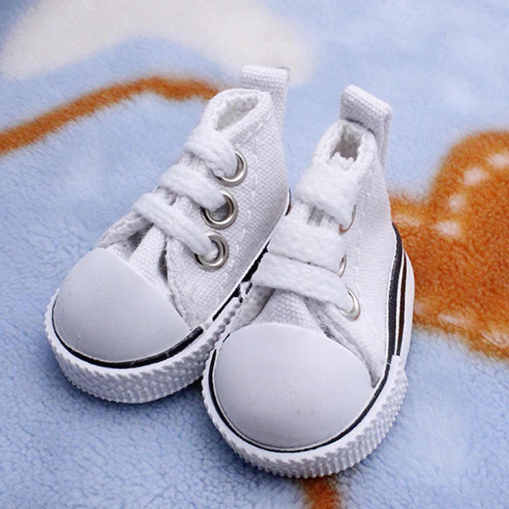 Melhor Venda 5 cm Lona Denim Sapatos de Lona Mini Brinquedo Shoes1/6 Sneackers Botas para Russo Boneca artesanal DIY acessórios Da Boneca Boneca