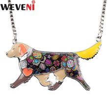 WEVENI Statement Alloy Golden Retriever Dog Choker Necklace Pendants Enamel Chain Collar Fashion Accessories Jewelry For Women(China)