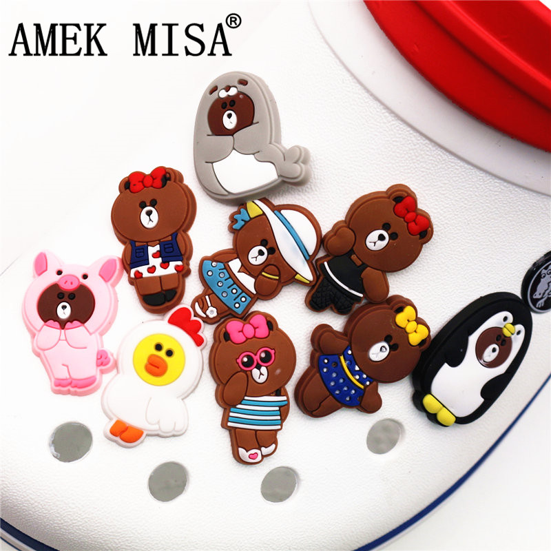 9Pcs/Set PVC Shoe Decorations Cartoon Rilakkuma Garden Shoe Croc Charms Bears Shoe Accessories For JIBZ/ Wristbands Kids Xmas