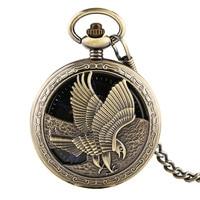 Hollow Design Eagle Tattoo Hand winding Mechanical Pocket Watch Vintage Pattern Skeleton Steampunk Mechanical Pocket Watches