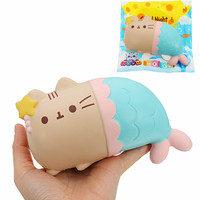 Cat Kitten Soft Key Bags Phone Straps Pendant 15cm Slow Rising Toy Big Squishies Mobile Chain