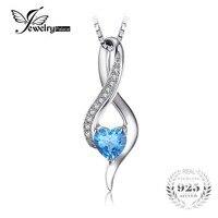 JewelryPalace Serce Miłość 0.6ct Oryginalne Niebieski Biały Topazs Wisiorek 925 Srebro Naszyjnik 925 Sterling Silver 18 Cali