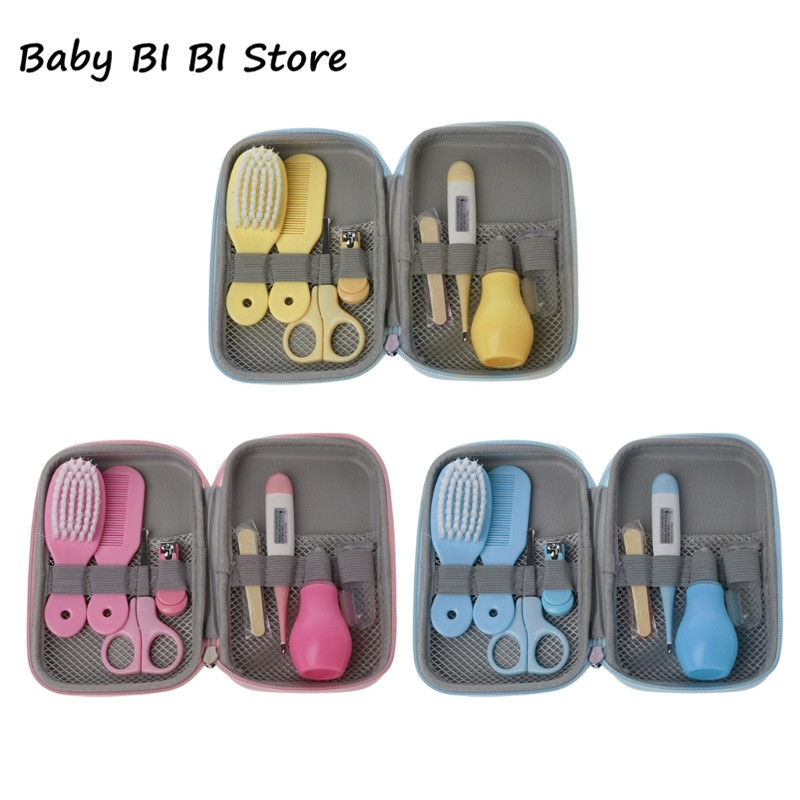 8Pcs/Set Newborn <font><b>Baby</b></font> Kids Infant Nail Hair <font><b>Health</b></font> <font><b>Baby</b></font> Care Thermometer Grooming Brush <font><b>Baby</b></font> Kit Nail scissors image