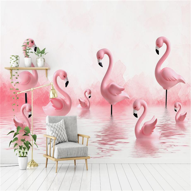 Wallpapers YOUMAN Custom Photo Wallpaper Modern Wallpaper Flamingo Baby Room Background Wall Minimalist 3d Mural Room Decor Wall wallpapers youman modern 3d wall coverings embossed pvc wallpaper stone wall wallpaper wall vinyl desktop backgrounds room decor