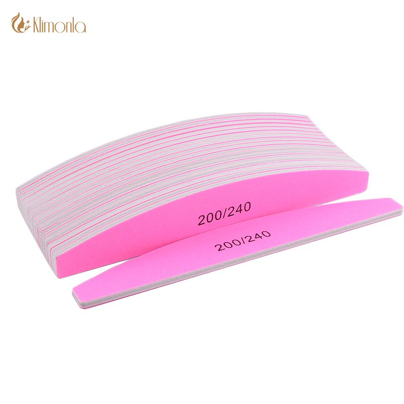 Pink N ail Sanding Half Moon Shape N ail 200 240 Grit Sandpaper P olishing For Care Tools Beauty Salon massage in Massage Relaxation from Beauty Health