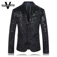 Черный Пиджак Мужчины Пейсли Цветочным Узором Свадебный Пиджак Slim Fit Стильные Костюмы Этап Одежда Певица Мужские Пиджаки Дизайн