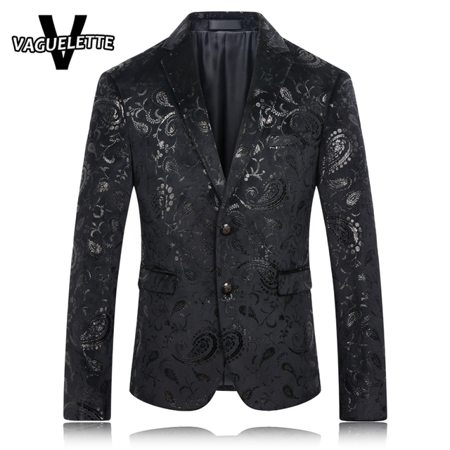 Aliexpress.com : Buy Black Blazer Men Paisley Floral Pattern ...
