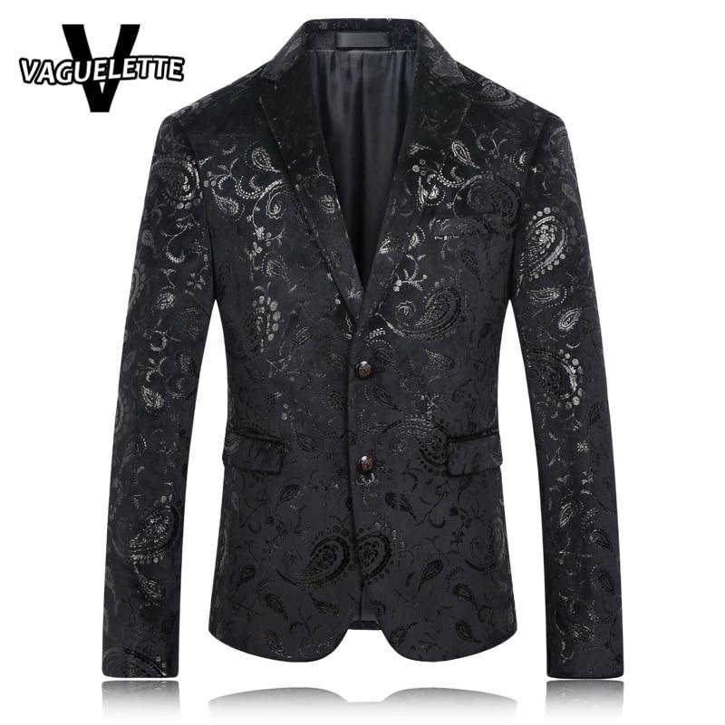 Black Blazer Men Paisley Floral Pattern Wedding Suit Jacket Slim Fit Stylish Costumes Stage Wear For Singer Mens Blazers Designs