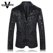 Black Blazer Men Paisley Floral Pattern Wedding Suit Jacket Slim Fit Stylish Costumes Stage Wear For Singer Mens Blazers Designs