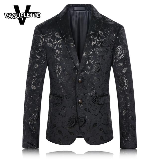 Hombres Blazer negro Paisley Patrón de Lentejuelas Chaqueta de Traje Slim Fit Desgaste de la Etapa Cantante De moda Casual Para Hombre Blazers Recién Llegados 2016