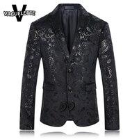 Schwarz Blazer Männer Paisley Floral Muster Hochzeitsanzug Jacke Slim Fit Stilvolle Kostüme Bühne Tragen Für Sänger Mens Blazer Designs