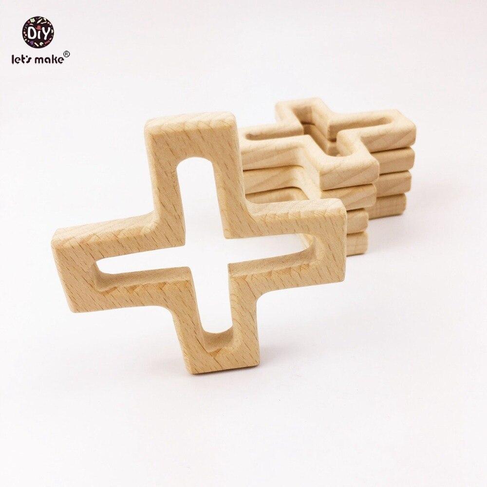 Давайте сделаем Детские Прорезыватель погремушка 5 шт. Детские аксессуары натуральный бук деревянный крест деревянный Цепочки и ожерелья к...